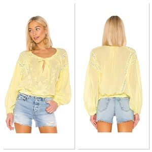 NWT Free People Maria Maria Yellow Lace Blouse M